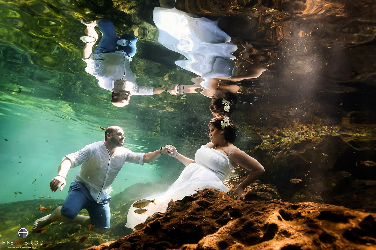 Underwater Trash the Dress Photography Tulum Mexico